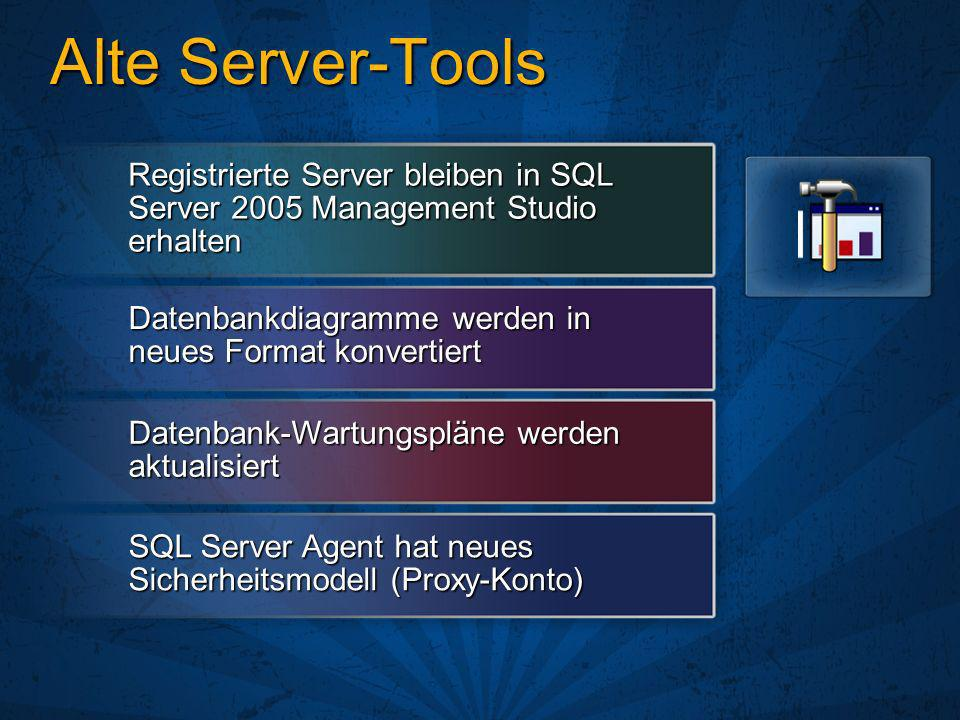 3/27/2017 3:08 PM Alte Server-Tools. Registrierte Server bleiben in SQL Server 2005 Management Studio erhalten.