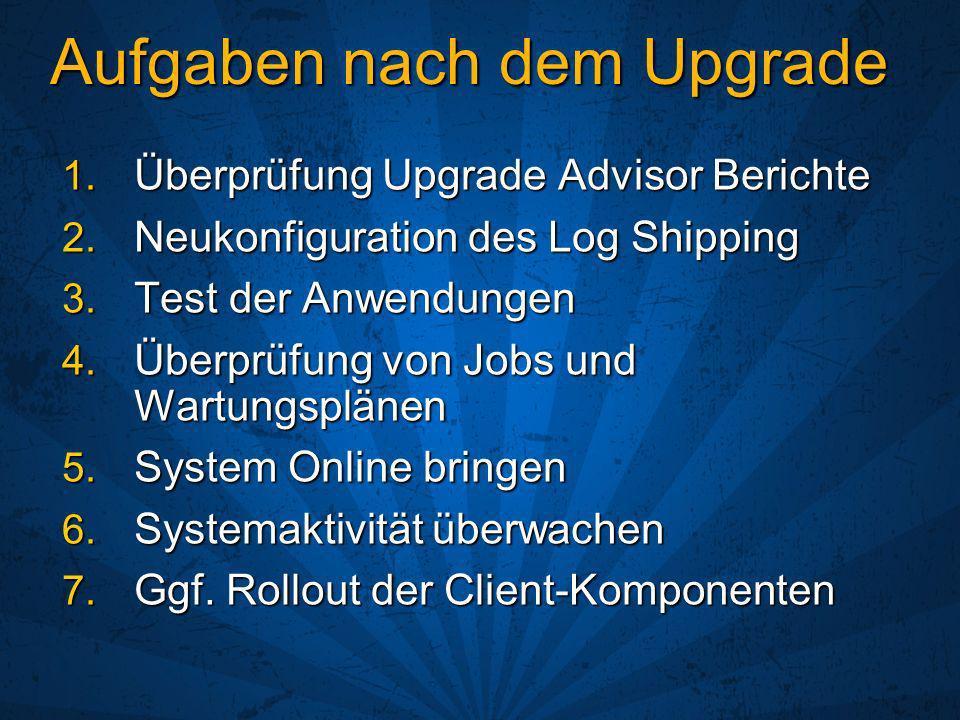 Aufgaben nach dem Upgrade