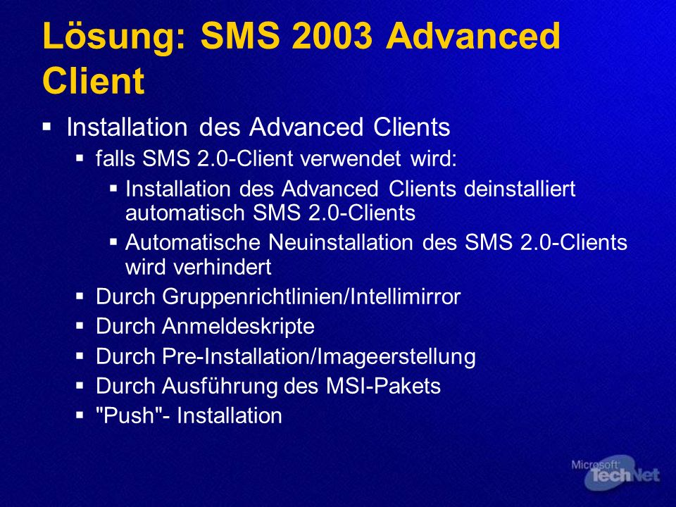 Lösung: SMS 2003 Advanced Client