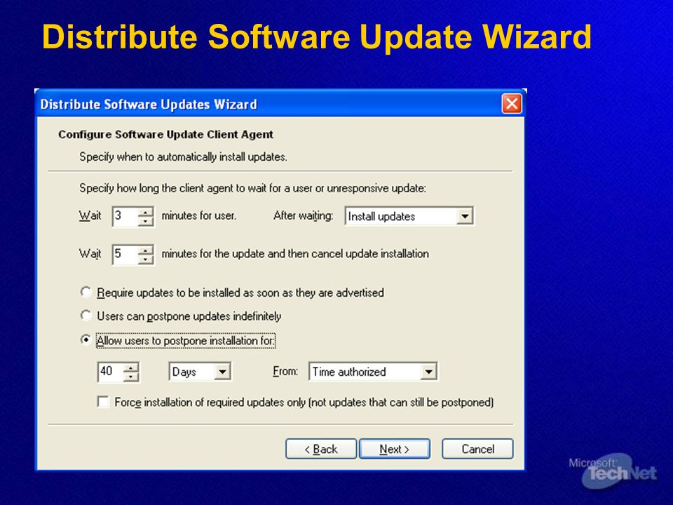 Distribute Software Update Wizard
