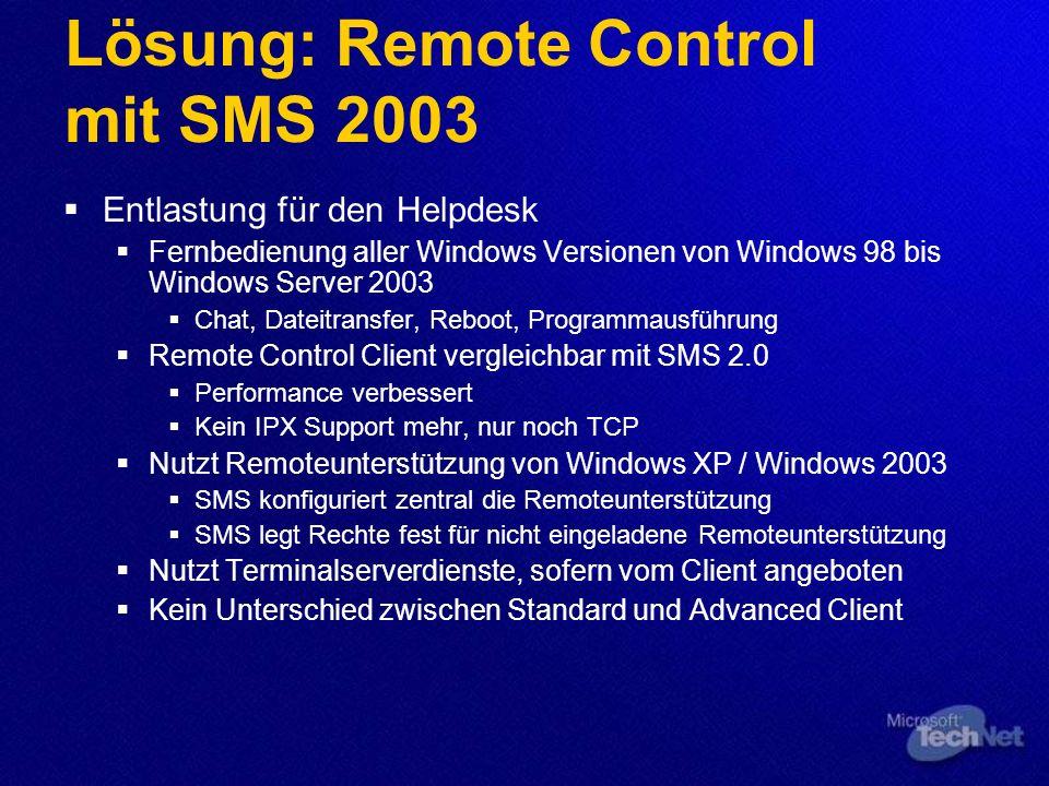 Lösung: Remote Control mit SMS 2003