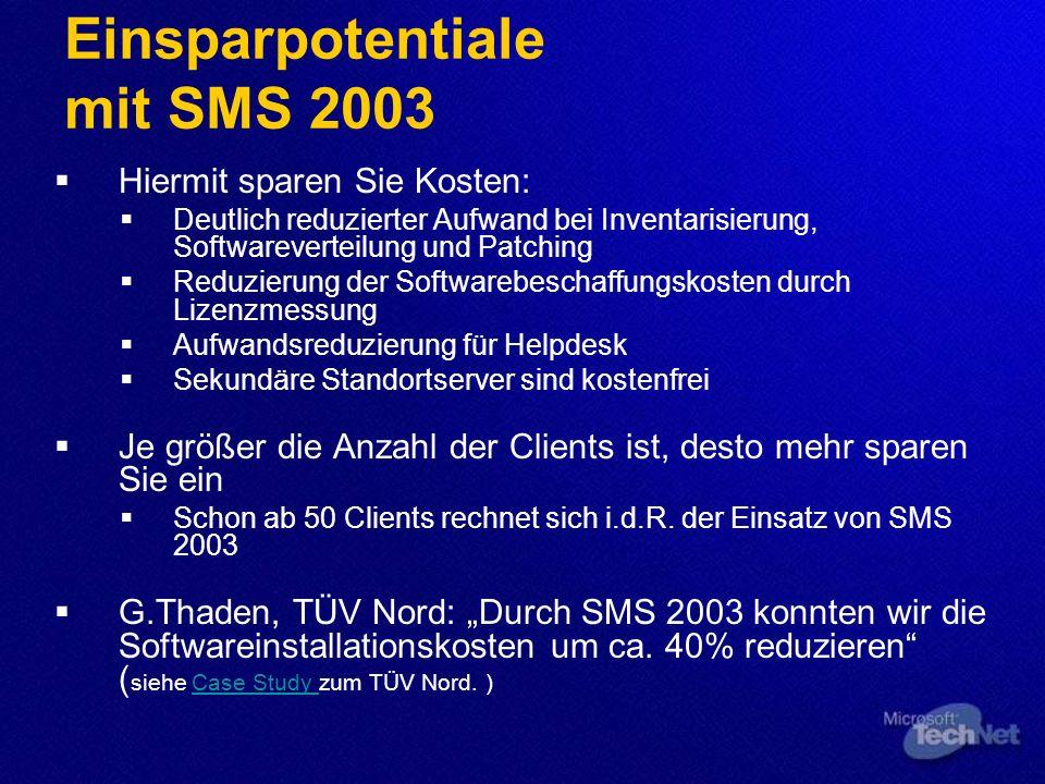 Einsparpotentiale mit SMS 2003