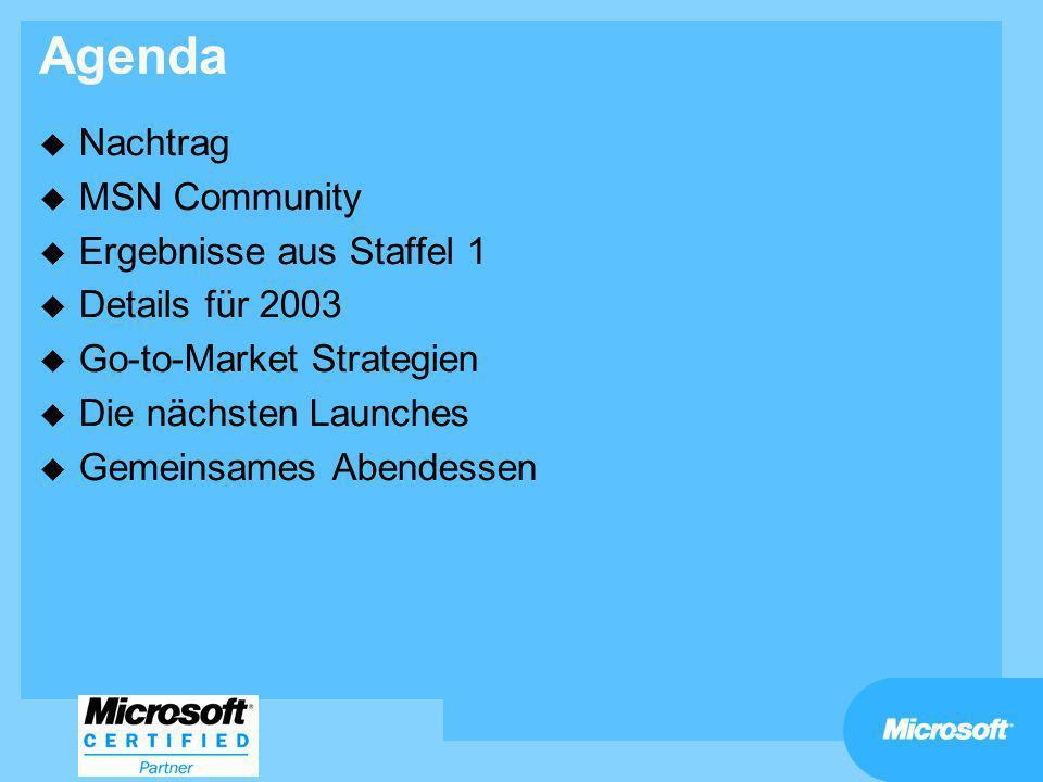 Agenda Nachtrag MSN Community Ergebnisse aus Staffel 1