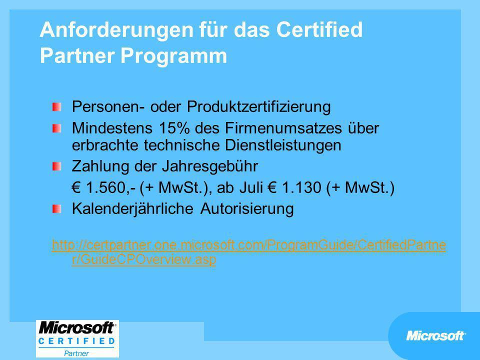 Anforderungen für das Certified Partner Programm