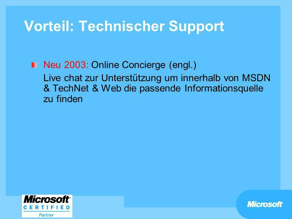 Vorteil: Technischer Support