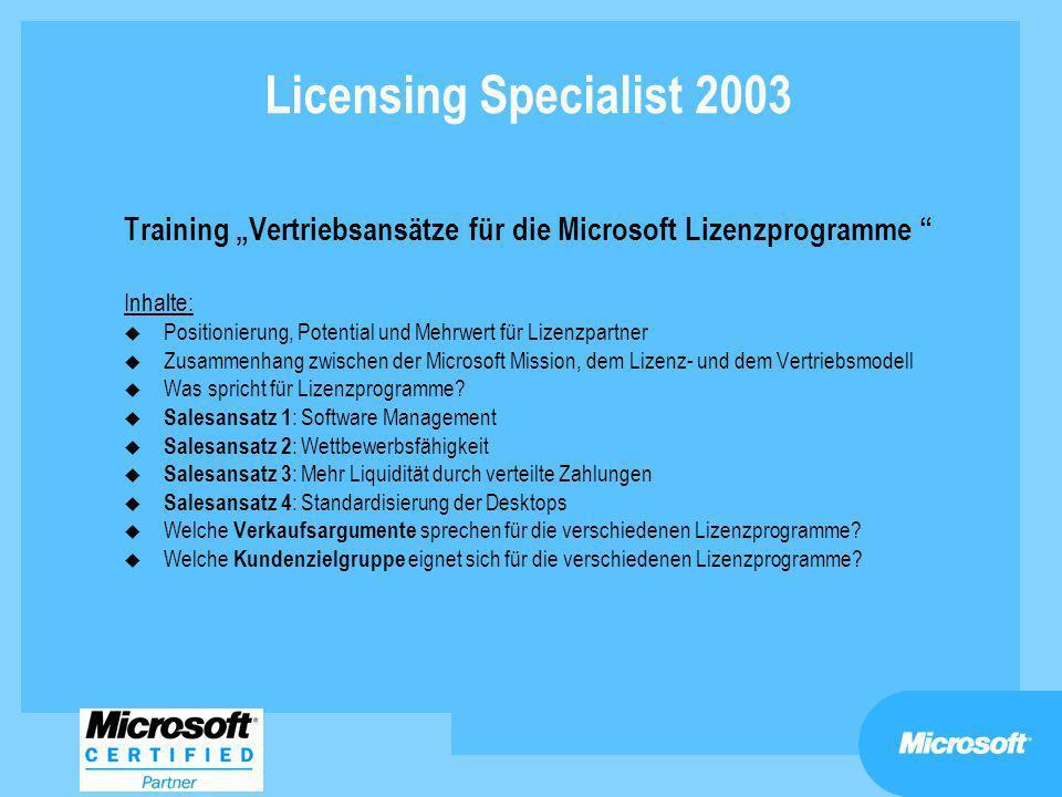 """Licensing Specialist 2003 Training """"Vertriebsansätze für die Microsoft Lizenzprogramme Inhalte:"""