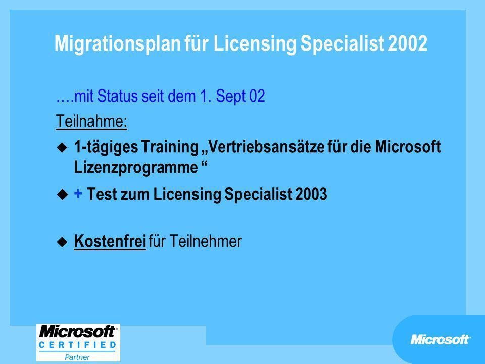 Migrationsplan für Licensing Specialist 2002