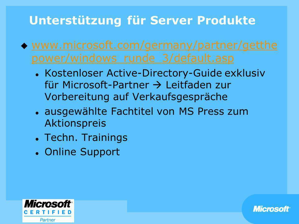 Unterstützung für Server Produkte