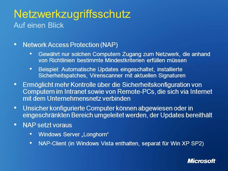 Netzwerkzugriffsschutz Auf einen Blick