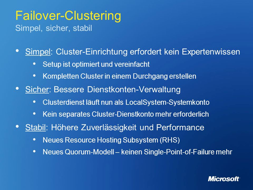 Failover-Clustering Simpel, sicher, stabil