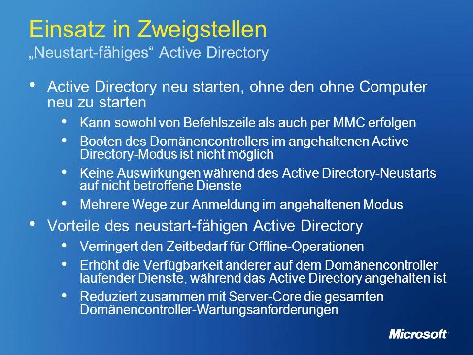 """Einsatz in Zweigstellen """"Neustart-fähiges Active Directory"""