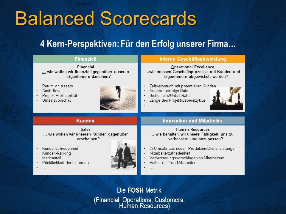 Balanced Scorecards 4 Kern-Perspektiven: Für den Erfolg unserer Firma…