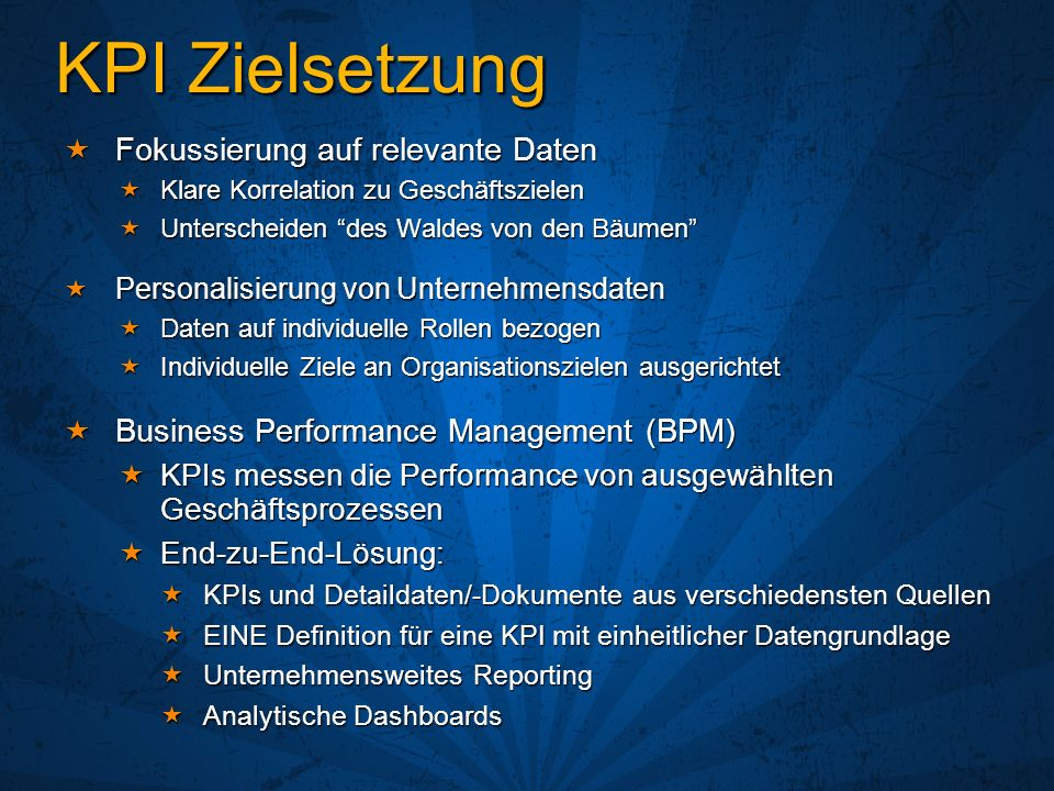 KPI Zielsetzung Fokussierung auf relevante Daten