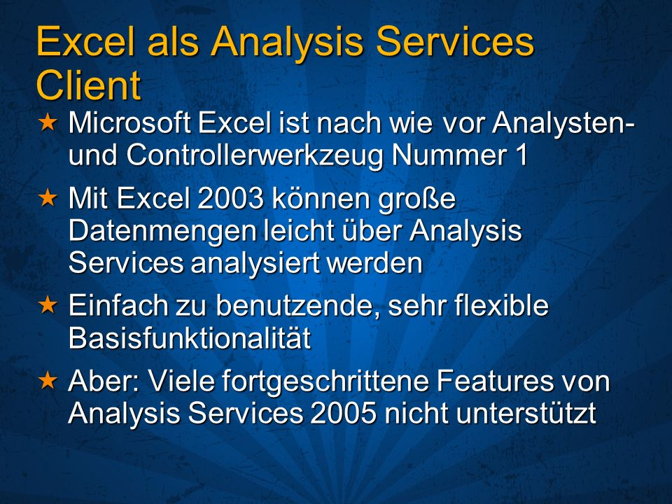 Excel als Analysis Services Client