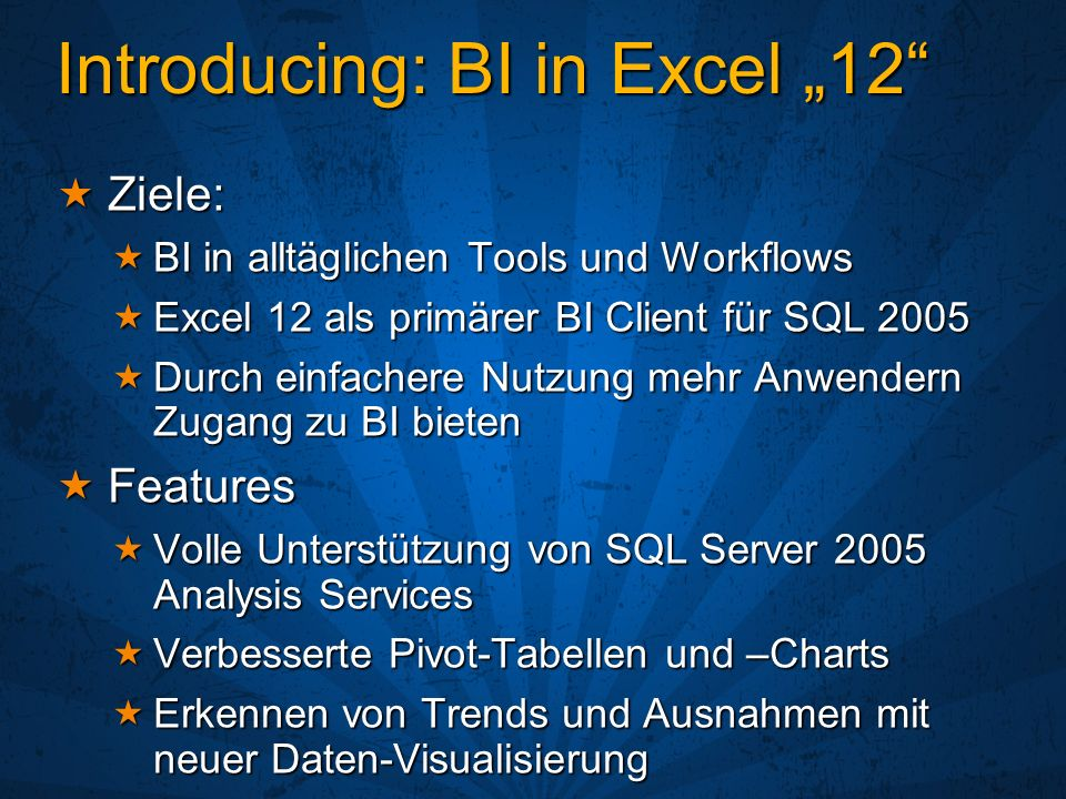 "Introducing: BI in Excel ""12"