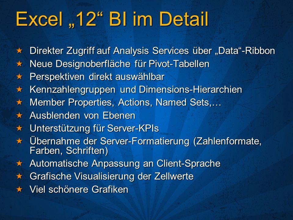 """Excel """"12 BI im Detail Direkter Zugriff auf Analysis Services über """"Data -Ribbon. Neue Designoberfläche für Pivot-Tabellen."""