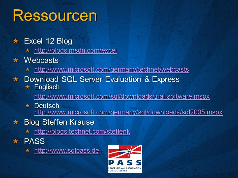 Ressourcen Excel 12 Blog Webcasts