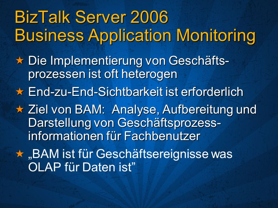 BizTalk Server 2006 Business Application Monitoring