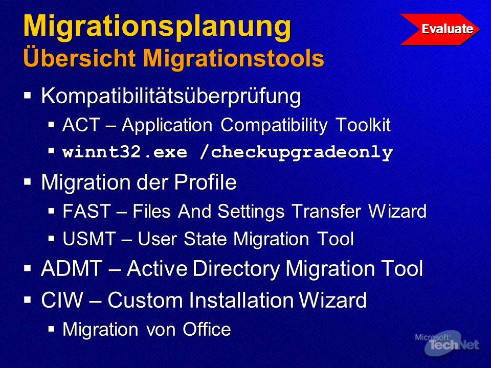 Migrationsplanung Übersicht Migrationstools