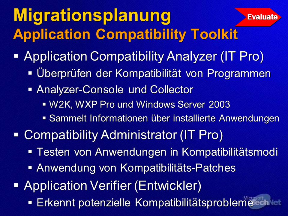 Migrationsplanung Application Compatibility Toolkit