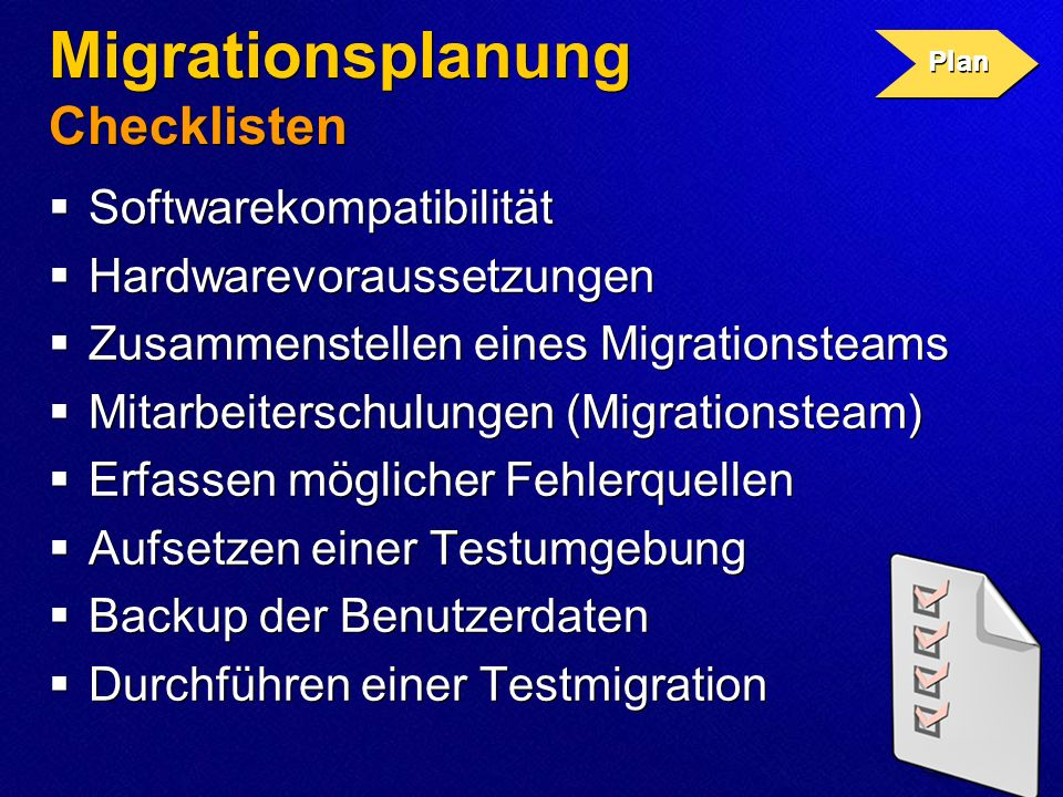 Migrationsplanung Checklisten