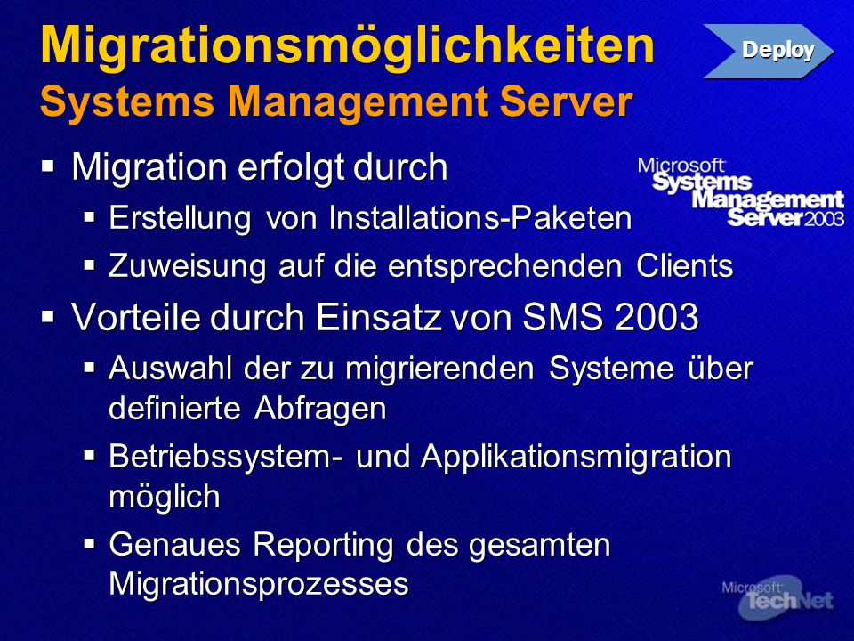 Migrationsmöglichkeiten Systems Management Server