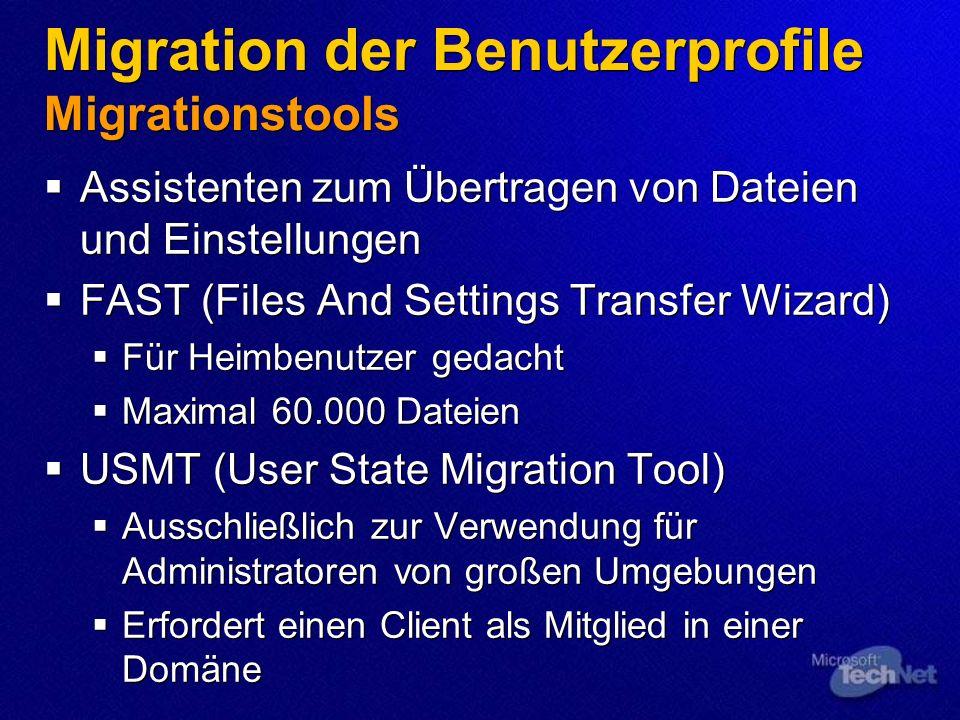 Migration der Benutzerprofile Migrationstools