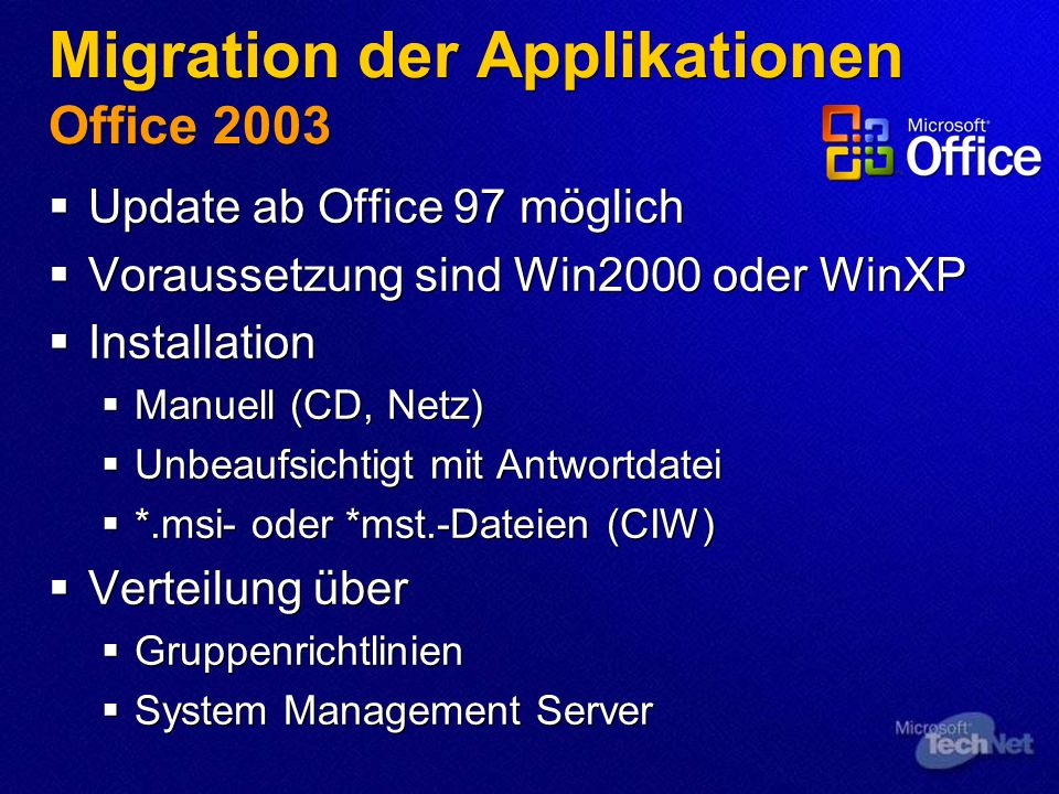 Migration der Applikationen Office 2003