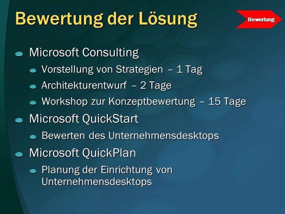Bewertung der Lösung Microsoft Consulting Microsoft QuickStart