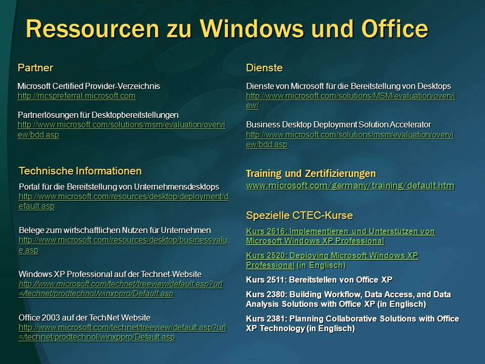 Ressourcen zu Windows und Office