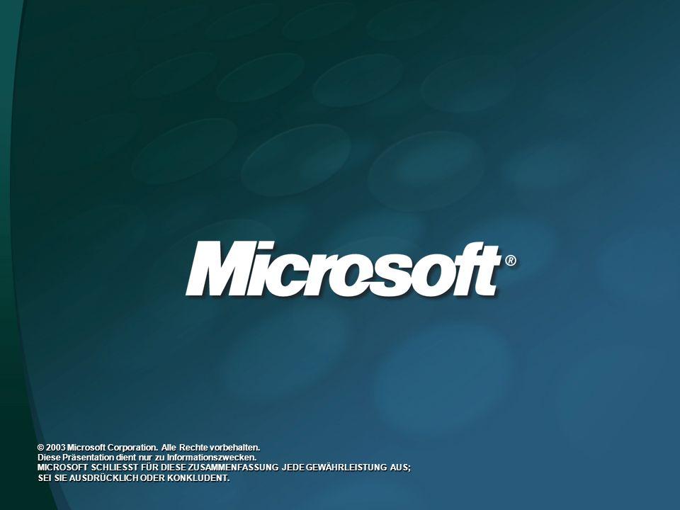 © 2003 Microsoft Corporation. Alle Rechte vorbehalten.