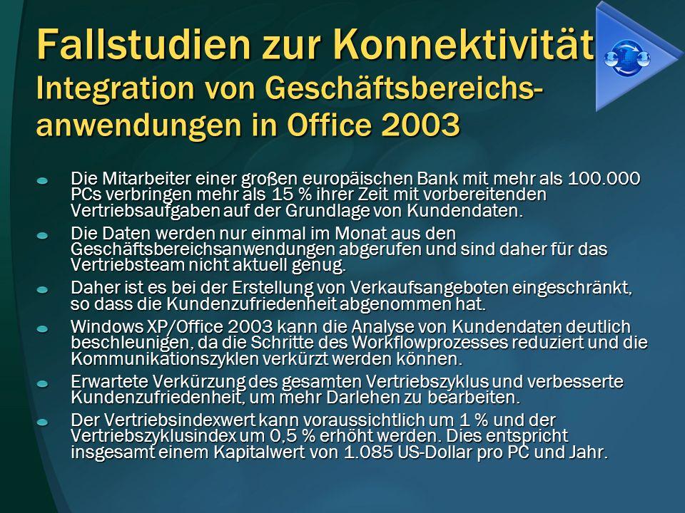Fallstudien zur Konnektivität Integration von Geschäftsbereichs-anwendungen in Office 2003