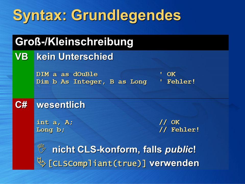 Syntax: Grundlegendes