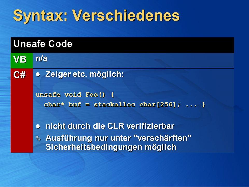 Syntax: Verschiedenes