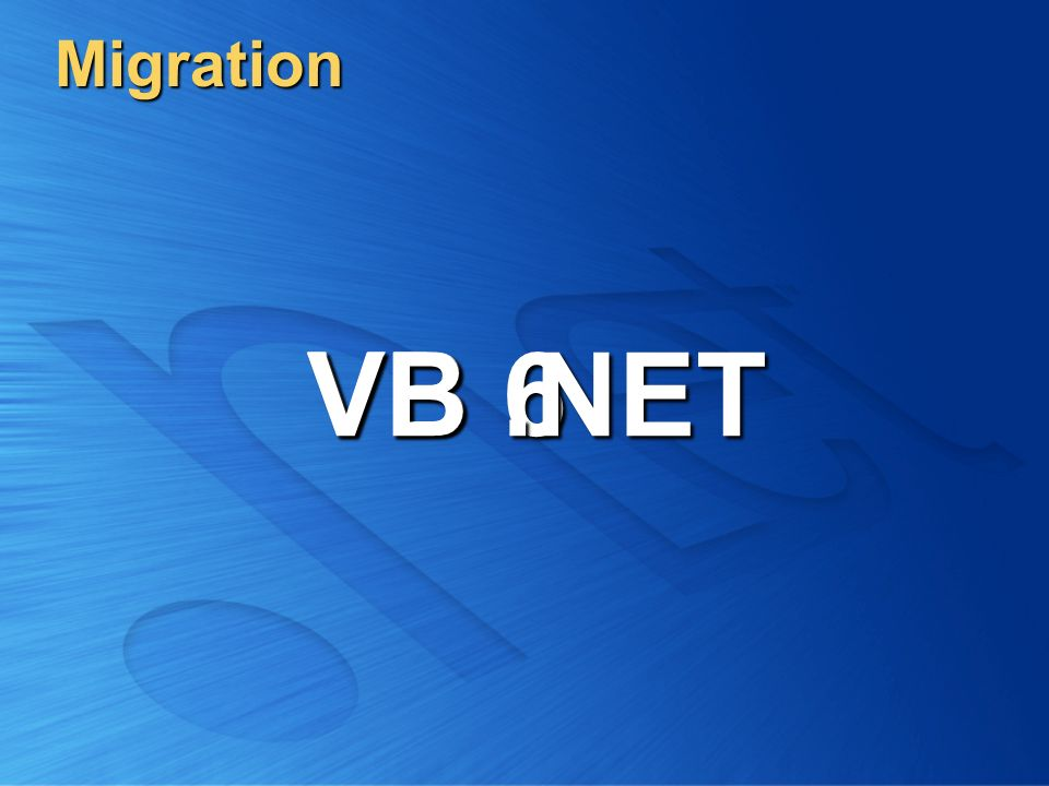 Migration VB 6 VB .NET