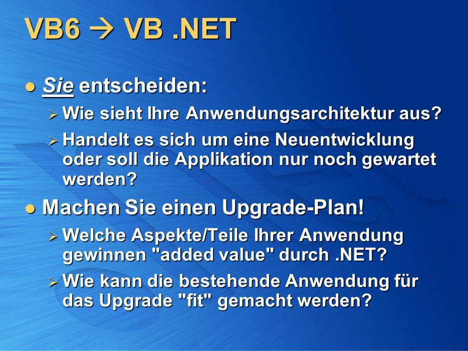 VB6  VB .NET Sie entscheiden: Machen Sie einen Upgrade-Plan!