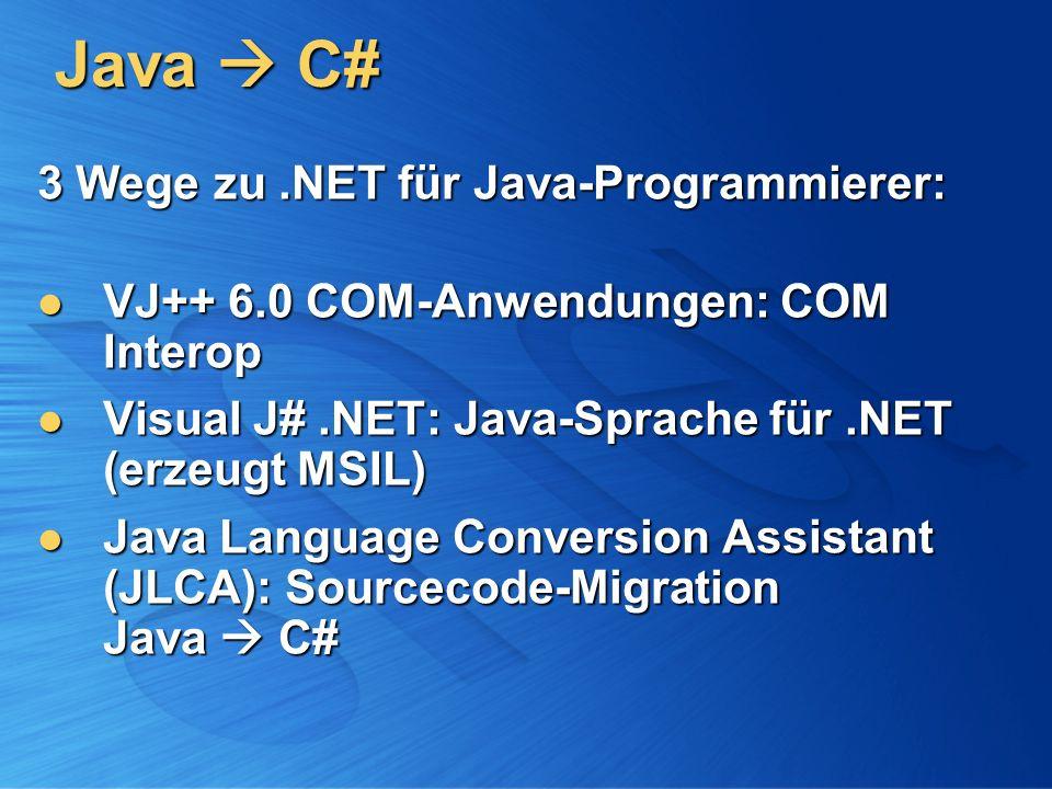 Java  C# 3 Wege zu .NET für Java-Programmierer: