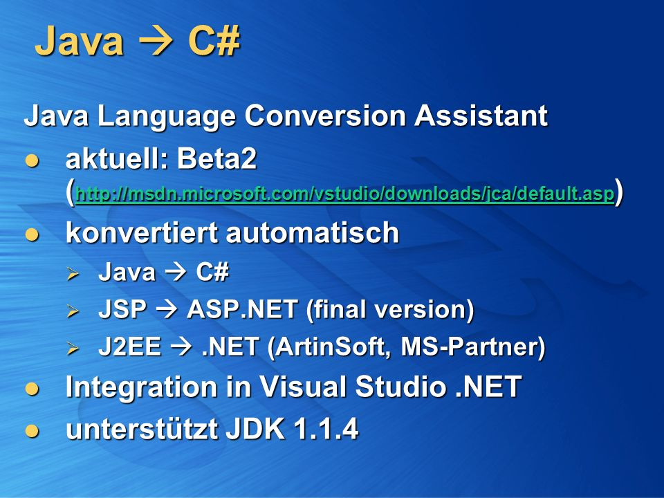 Java  C# Java Language Conversion Assistant