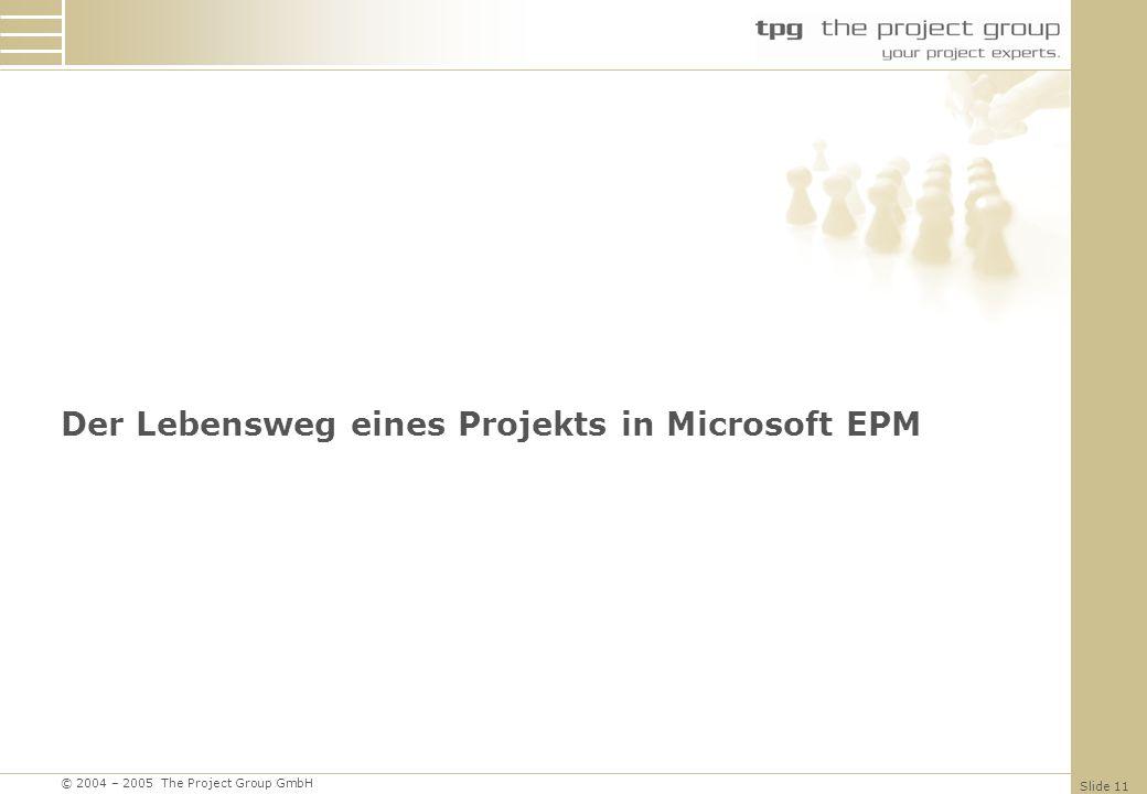 Der Lebensweg eines Projekts in Microsoft EPM