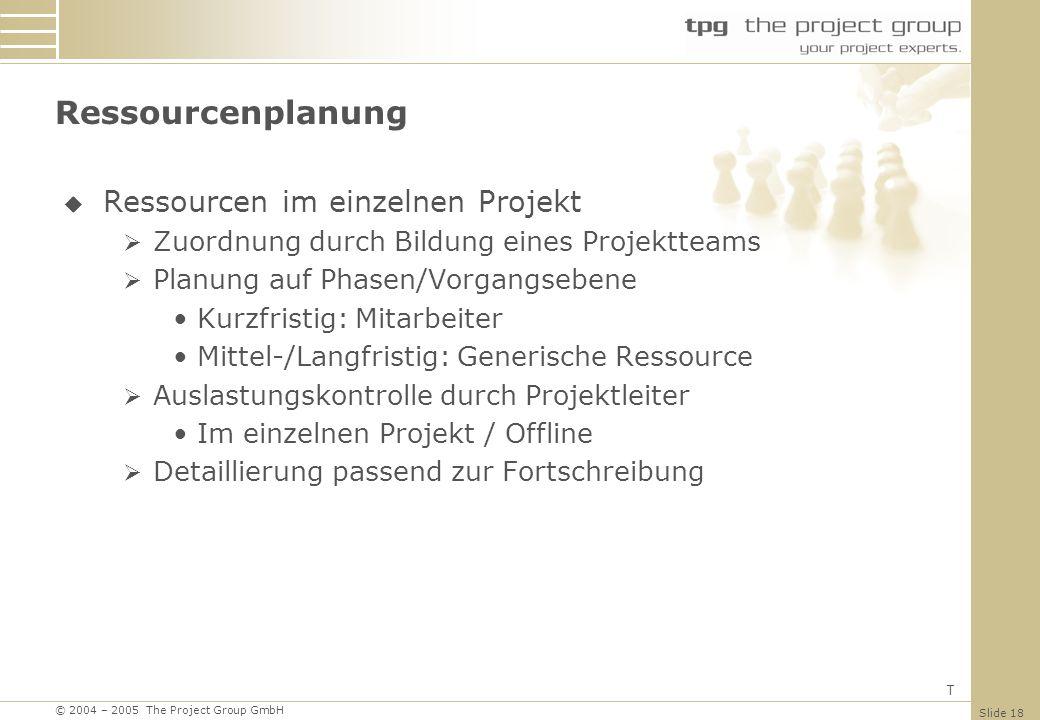 Ressourcenplanung Ressourcen im einzelnen Projekt