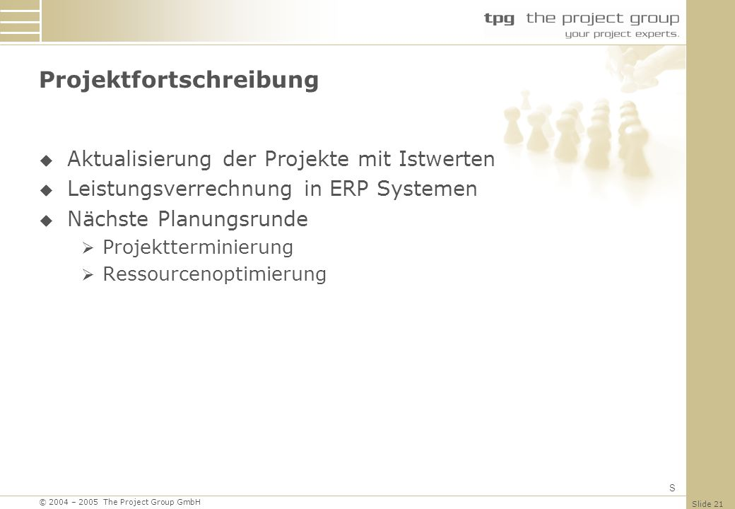 Projektfortschreibung