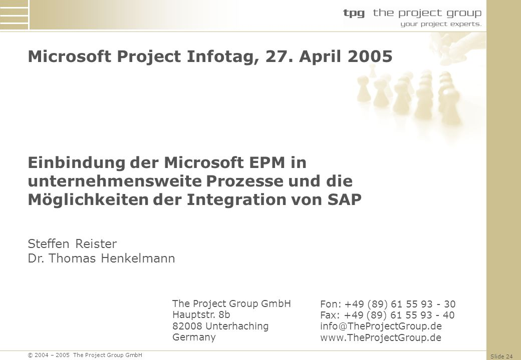 Microsoft Project Infotag, 27. April 2005