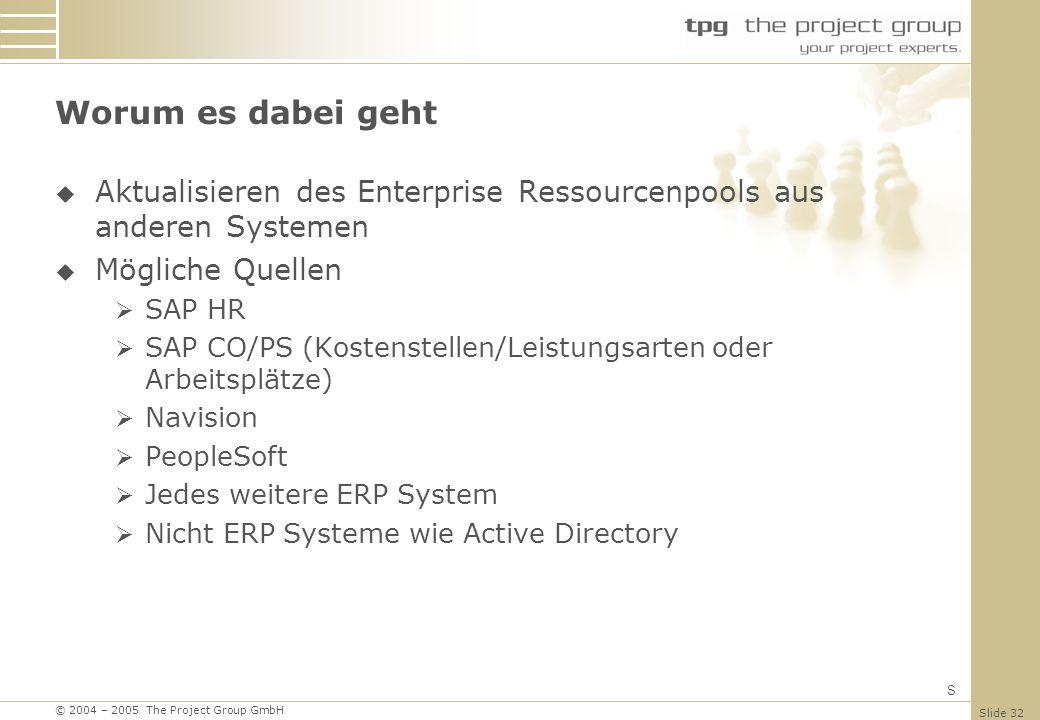 Worum es dabei geht Aktualisieren des Enterprise Ressourcenpools aus anderen Systemen. Mögliche Quellen.