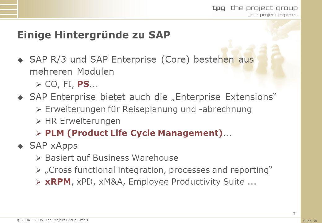 Einige Hintergründe zu SAP