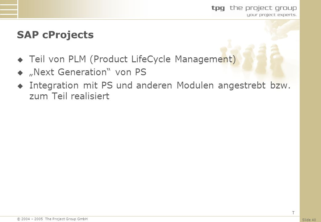 SAP cProjects Teil von PLM (Product LifeCycle Management)