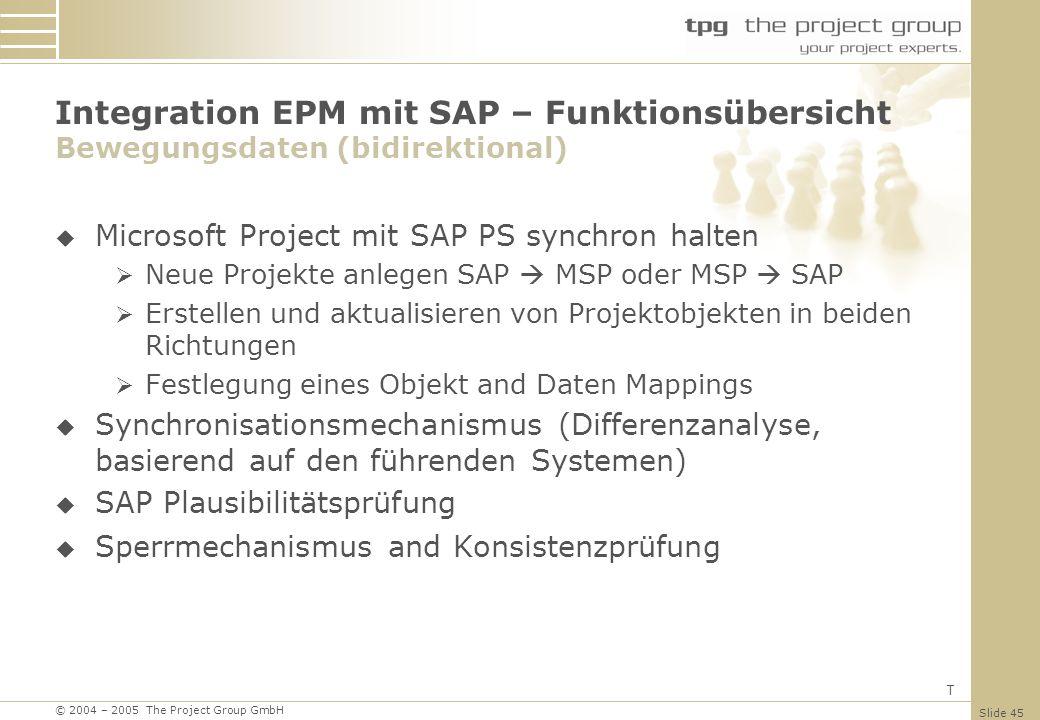 Integration EPM mit SAP – Funktionsübersicht