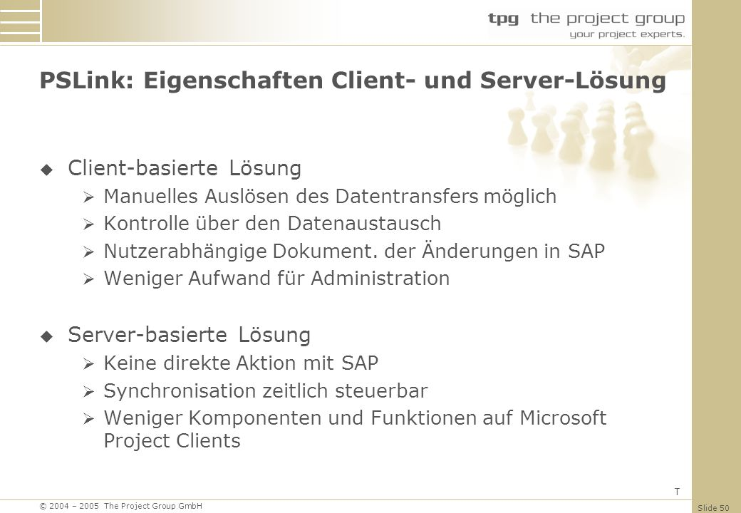 PSLink: Eigenschaften Client- und Server-Lösung