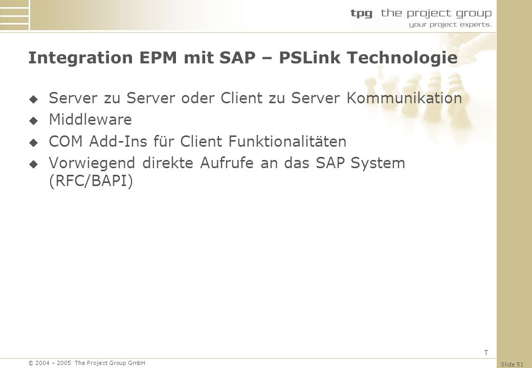 Integration EPM mit SAP – PSLink Technologie