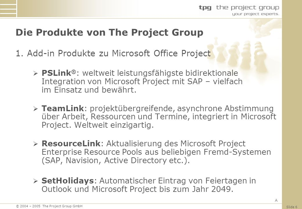 Die Produkte von The Project Group