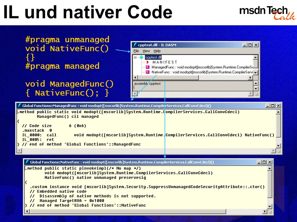 IL und nativer Code #pragma unmanaged void NativeFunc() {}